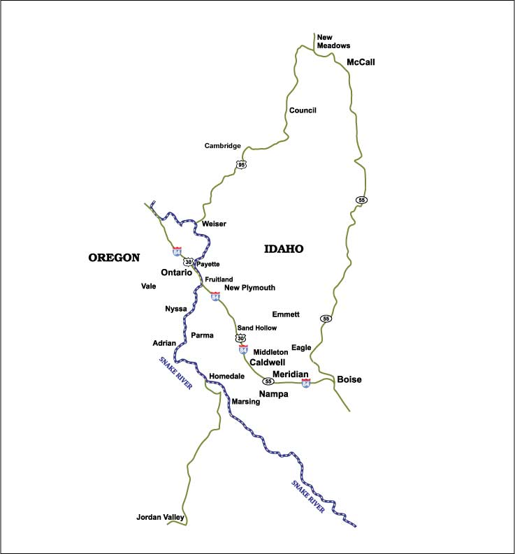 Burke Electric's Service Area in Idaho and Oregon